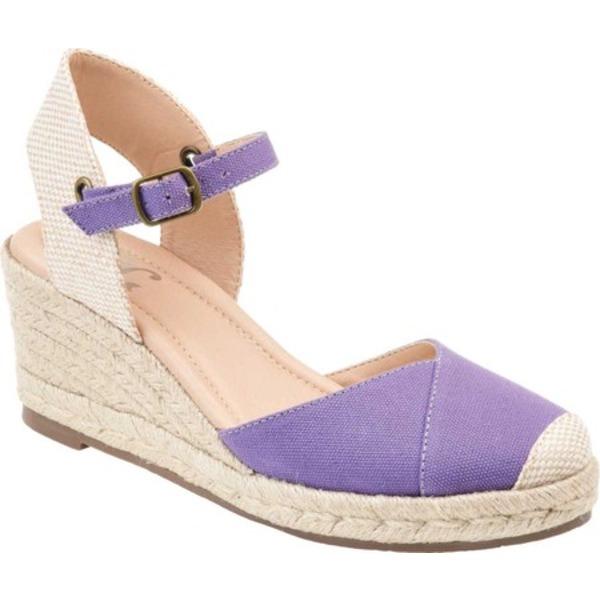 ジャーニーコレクション レディース サンダル シューズ Ashlyn Espadrille Wedge Closed Toe Sandal Purple Canvas Fabric