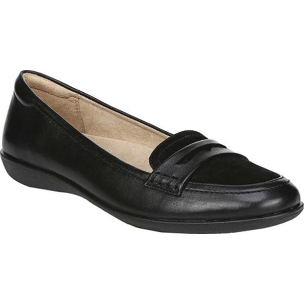ナチュライザー レディース サンダル シューズ Finley Flat Penny Loafer Black Leather/Suede