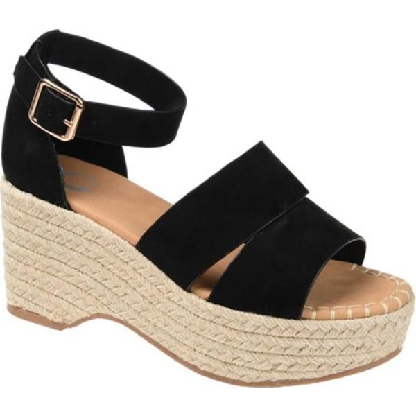 ジャーニーコレクション レディース サンダル シューズ Takara Espadrille Wedge Platform Sandal Black Faux Leather