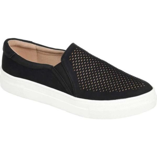 ジャーニーコレクション レディース スニーカー シューズ Faybia Perforated Slip On Sneaker Black Faux Leather