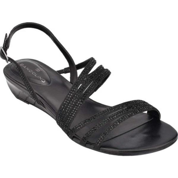 バンドリーノ レディース サンダル シューズ Tillya Strappy Slingback Wedge Black Textile/Faux Leather