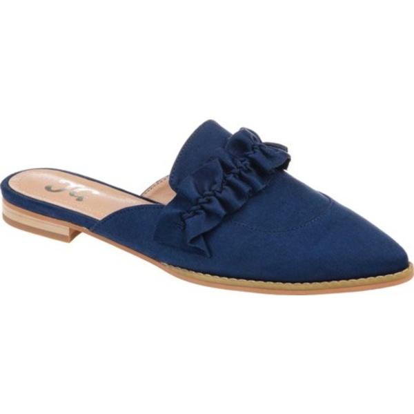 ジャーニーコレクション レディース サンダル シューズ Kessie Pointed Toe Mule Blue Microsuede Fabric