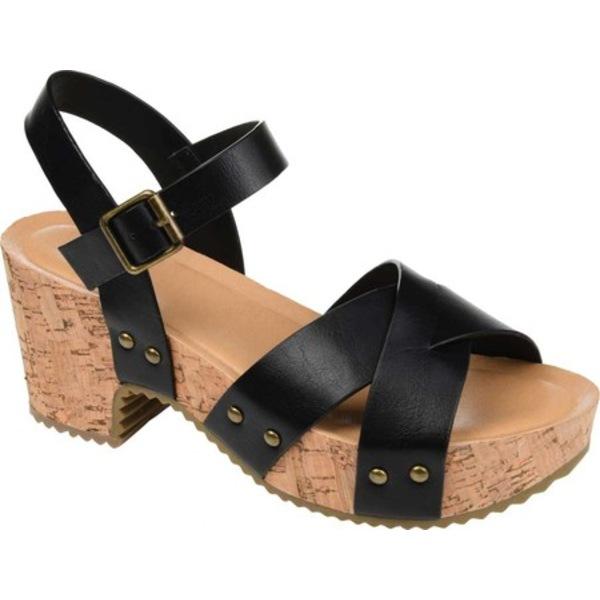 ジャーニーコレクション レディース サンダル シューズ Valentina Quarter Strap Platform Sandal Black Faux Leather