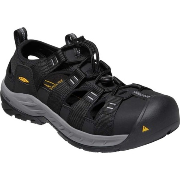 キーン メンズ サンダル シューズ Atlanta II Cooler Steel Toe Sandal Black/Steel Grey Synthetic/Mesh