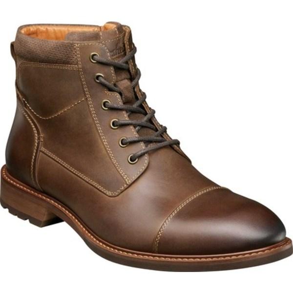 フローシャイム メンズ ブーツ&レインブーツ シューズ Lodge Cap Toe Lace Up Ankle Boot Brown Crazy Horse Leather