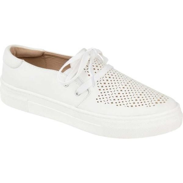 ジャーニーコレクション レディース スニーカー シューズ Shantel Slip On Sneaker White Perforated Faux Leather