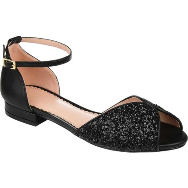 ジャーニーコレクション レディース サンダル シューズ Verona Ankle Strap Sandal Black Glitter/Synthetic
