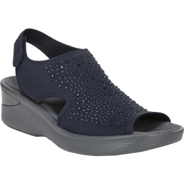 ビジーズ レディース サンダル シューズ Saucy Slingback Wedge Sandal Navy Knit
