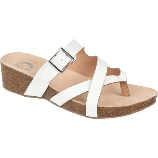 ジャーニーコレクション レディース サンダル シューズ Madrid Wedge Thong Sandal White Faux Leather
