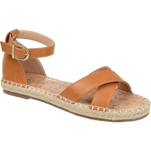ジャーニーコレクション レディース サンダル シューズ Lyddia Espadrille Ankle Strap Sandal Cognac Faux Leather
