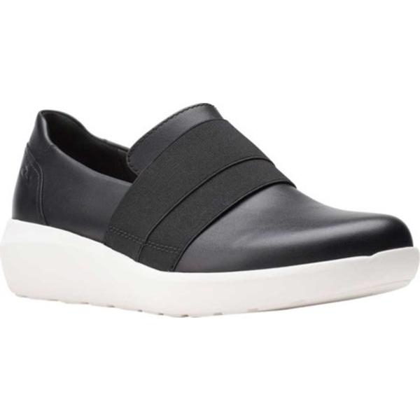 クラークス レディース スニーカー シューズ Kayleigh River Slip On Sneaker Black Full Grain Leather