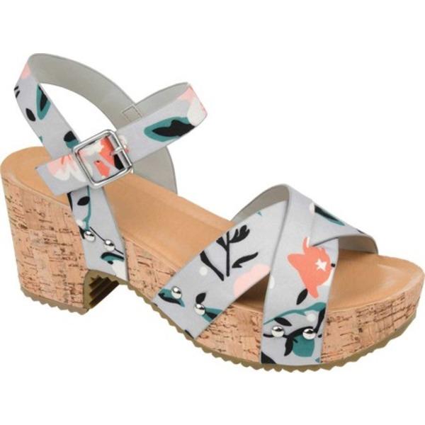 ジャーニーコレクション レディース サンダル シューズ Valentina Quarter Strap Platform Sandal Floral Faux Leather