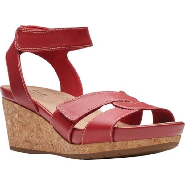 クラークス レディース サンダル シューズ Un Capri Strap Wedge Sandal Red Full Grain Leather