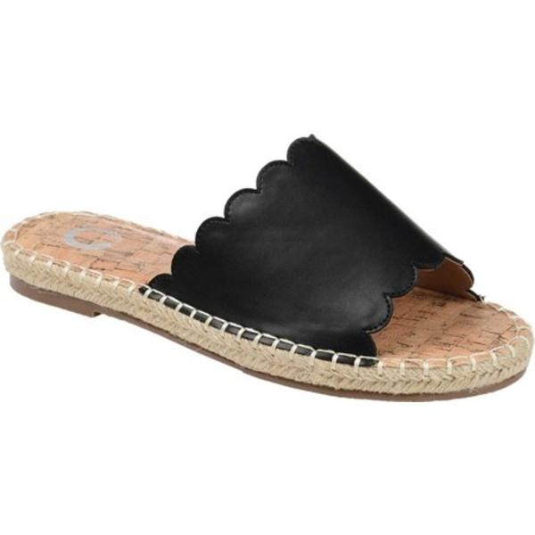 ジャーニーコレクション レディース サンダル シューズ Marjan Espadrille Slide Black Faux Leather