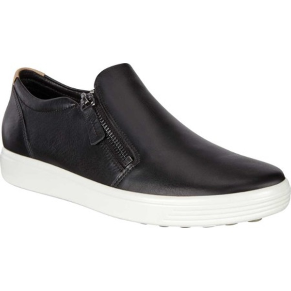 エコー レディース スニーカー シューズ Soft 7 Out Side Zip Sneaker Black Smooth Leather/Nubuck