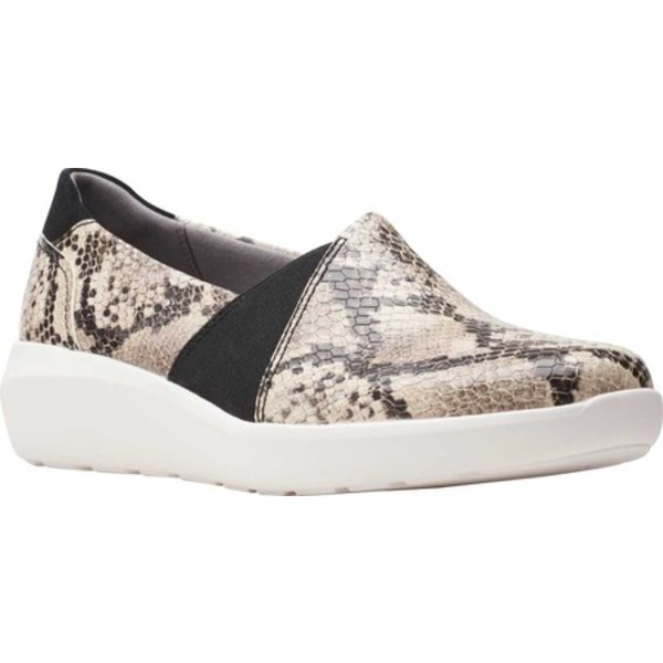 クラークス レディース スニーカー シューズ Kayleigh Step Slip On Sneaker Taupe Snake Synthetic