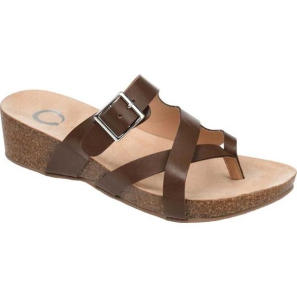 ジャーニーコレクション レディース サンダル シューズ Madrid Wedge Thong Sandal Brown Faux Leather