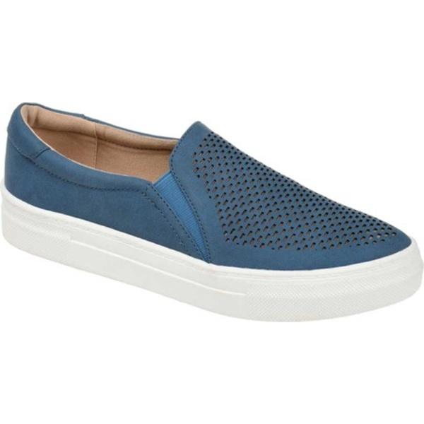 ジャーニーコレクション レディース スニーカー シューズ Faybia Perforated Slip On Sneaker Blue Faux Leather