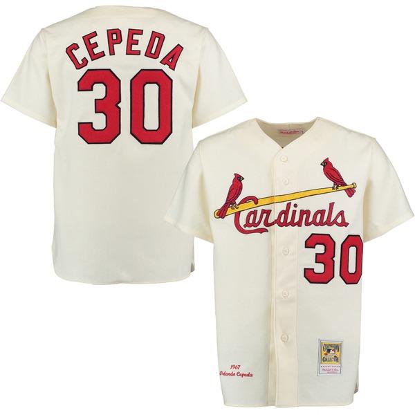 ミッチェル&ネス メンズ ユニフォーム トップス Orlando Cepeda 1967 St. Louis Cardinals Mitchell & Ness Home Authentic Throwback Jersey Cream