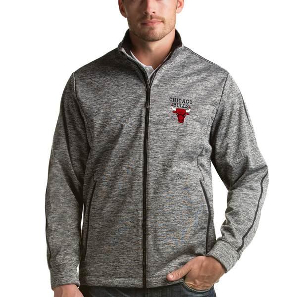 アンティグア メンズ ジャケット&ブルゾン アウター Chicago Bulls Antigua Golf FullZip Jacket Heathered Black