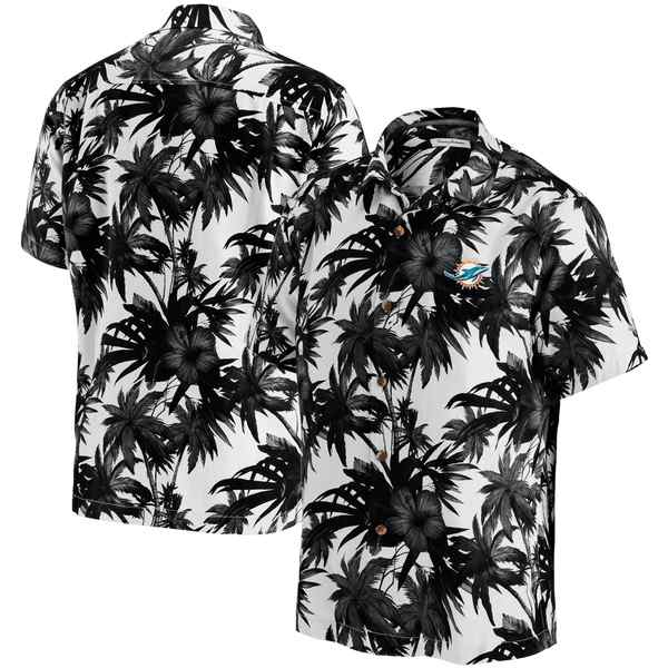 トッミーバハマ メンズ シャツ トップス Miami Dolphins Tommy Bahama Sport Harbor Island Hibiscus Camp ButtonDown Shirt Black