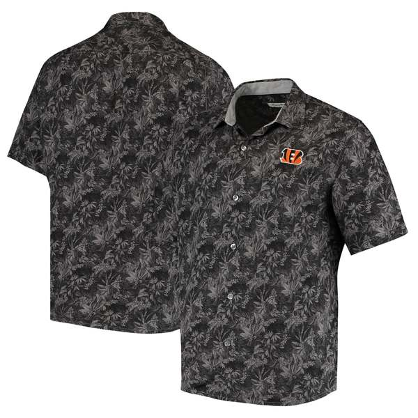 トッミーバハマ メンズ シャツ トップス Cincinnati Bengals Tommy Bahama Sport Jungle Shade Camp ButtonDown Shirt Black