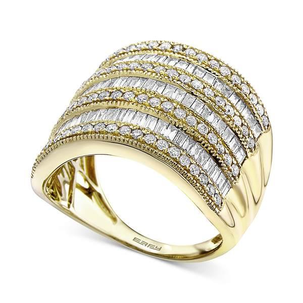 【楽天スーパーセール】 エフィー コレクション レディース リング アクセサリー EFFY® Diamond Multi-Row Statement Ring (1-1/2 ct. t.w.) In 14k White Gold, 14K Gold Or 14K Rose Gold Yellow Gold, 泉佐野市 d3fe37e0