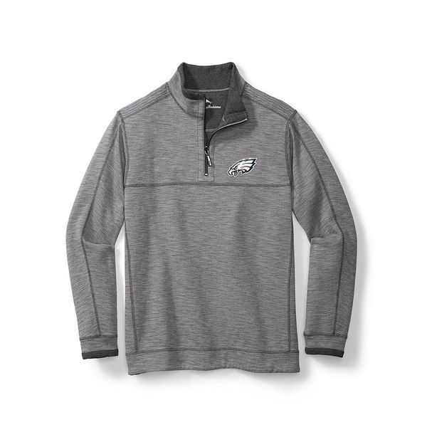 トッミーバハマ メンズ ニット&セーター アウター NFL Sandbar Slub Reversible Half-Zip Pullover Philadelphia Eagles Grey