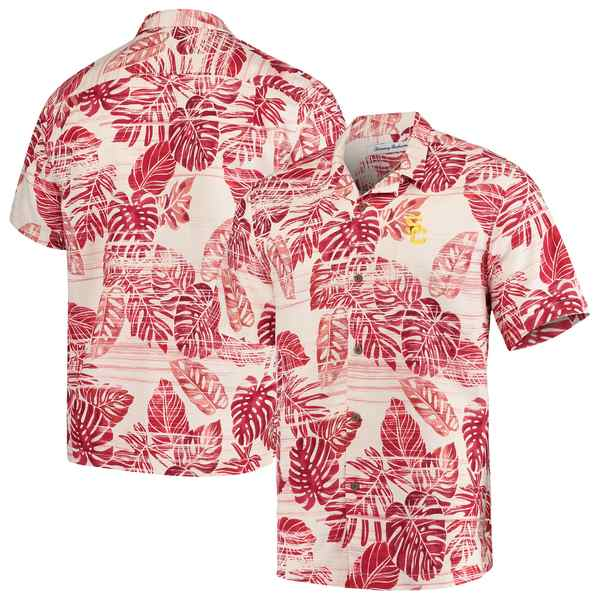 トッミーバハマ メンズ シャツ トップス USC Trojans Tommy Bahama Super Fan Camp Shirt Cardinal
