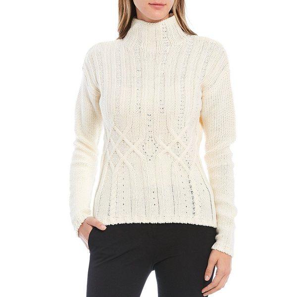 【激安アウトレット!】 ダナキャラン レディース ニット&セーター アウター Embellished Cable Knit Mock Neck Wool Blend Sweater Cream, 超本人 76473b15
