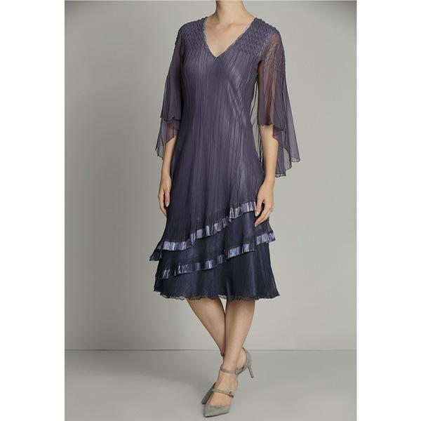 輝く高品質な コマロフ レディース ワンピース トップス Tiered Chiffon V-Neck Capelet Midi Dress Purple Sage, 5本指セレクトショップ 靴下小町 7206fb2f
