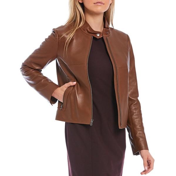 競売 アントニオメラニー レディース コート アウター Luxury Collection Rachel Genuine Leather Stand Collar Moto Jacket Chestnut, せんべいラボ 4a839084