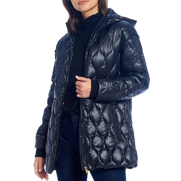 公式 ダナキャラン レディース コート アウター Down Hooded Quilted Anorak Coat Black, 愛野町 3d9d92cb