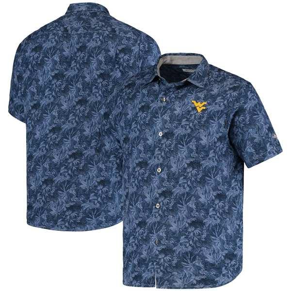 トッミーバハマ メンズ シャツ トップス West Virginia Mountaineers Tommy Bahama Sport Jungle Shade Camp ButtonUp Shirt Navy