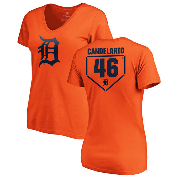 ファナティクス レディース Tシャツ トップス Detroit Tigers Fanatics Branded Women's Personalized RBI Slim Fit VNeck TShirt Orange