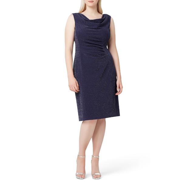 タハリ レディース ワンピース トップス Tahari Sleeveless Metallic Crepe Sheath Dress (Plus Size) Navy