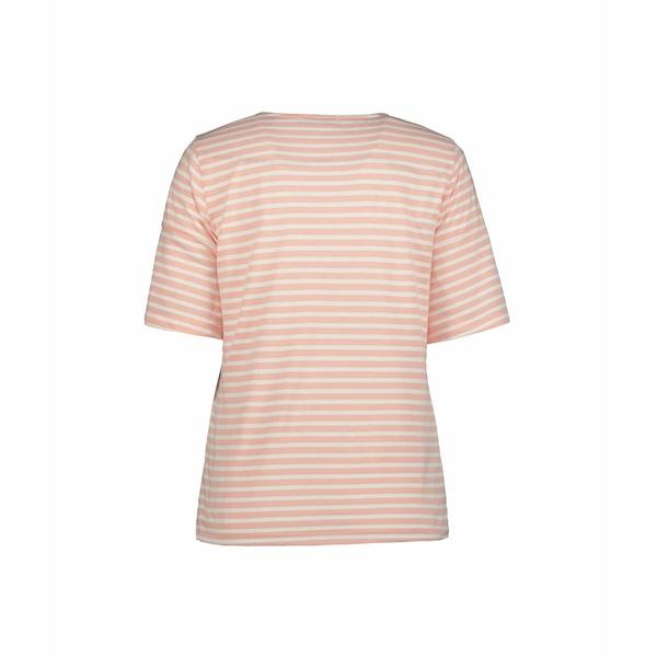 モッドドック レディース シャツ トップス Heathered Stripe Jersey Scoop Neck Tee with Button Sleeves Peach