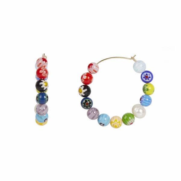 レベッカミンコフ レディース ピアス&イヤリング アクセサリー Rainbow Bead Hoop Earrings Multi