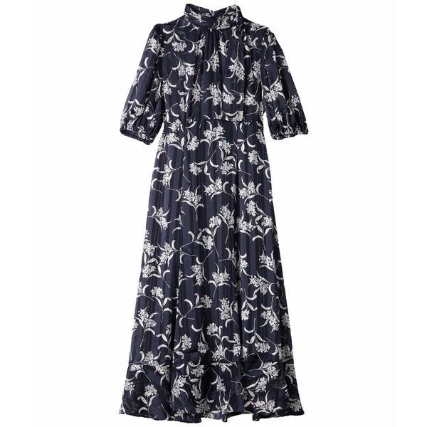 マギーロンドン レディース ワンピース トップス Tea Length A-Line Dress w/ Puffed Sleeve and Bow Tie Detail Navy/Pink
