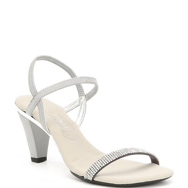 オネックス レディース サンダル シューズ Iced Rhinestone Embellished Leather Dress Sandals Silver