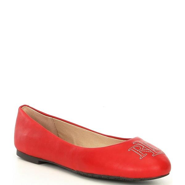 ラルフローレン レディース サンダル シューズ Jamie Logo Stitched Leather Ballet Flats Lauren Red