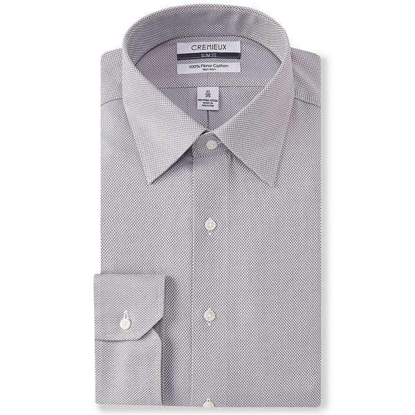 クレミュ メンズ シャツ トップス Non-Iron Slim-Fit Spread Collar Basketweave Dress Shirt Grey