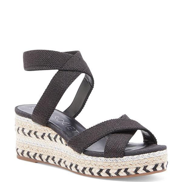 ソロソサエティ レディース サンダル シューズ Carmelina Stretch Linen Espadrille Wedge Sandals Black