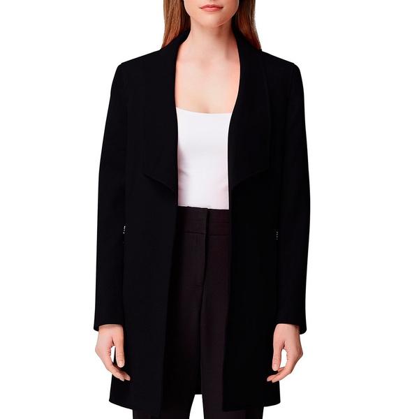 タハリエーエスエル レディース ジャケット&ブルゾン アウター Winged Lapel Collar Zipper Pocket Open Front Duster Jacket Black