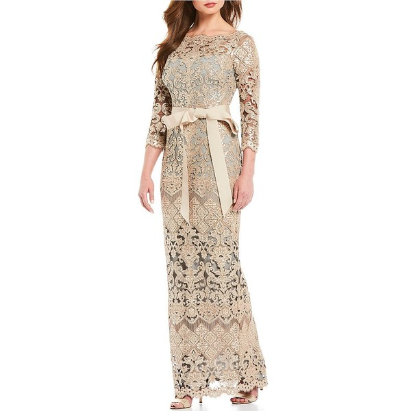 タダシショージ レディース ワンピース トップス Boat Neck Sequin Lace Illusion Ribbon Belt Gown Ginseng/Grey