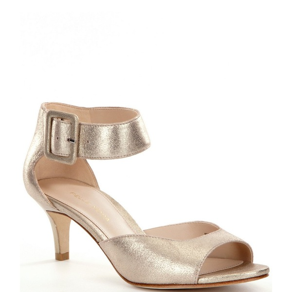 ペレモーダ レディース サンダル シューズ Berlin Metallic Leather Ankle Strap Kitten-Heel Dress Sandals Platinum Gold