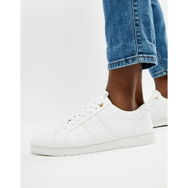 リバーアイランド メンズ スニーカー シューズ River Island sneakers with star embossing in white White