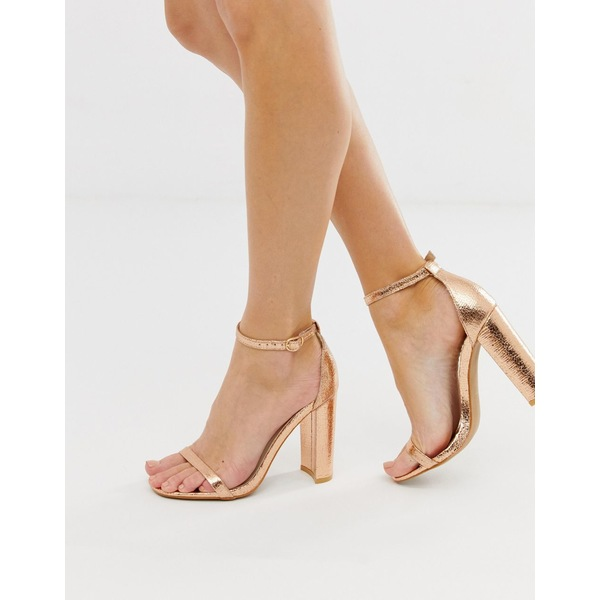 グラマラス レディース ヒール シューズ Glamorous rose gold barely there square toe block heeled sandals Rose gold