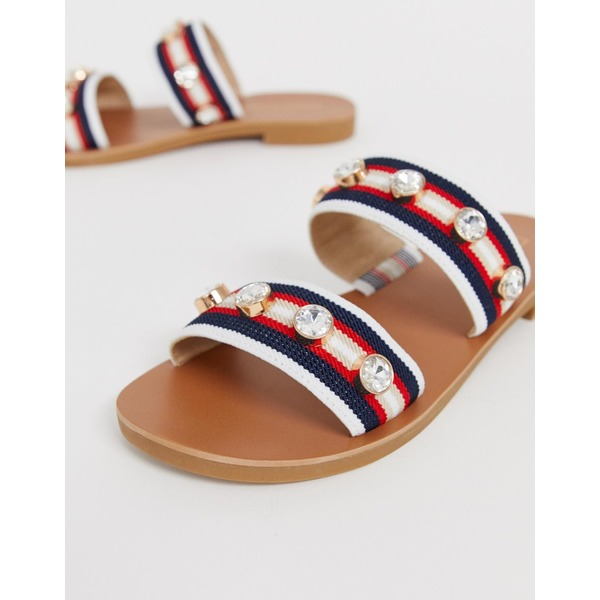 リバーアイランド レディース サンダル シューズ River Island two strap sandals with embellishment in red Red