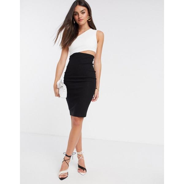 ベスパー レディース ワンピース トップス Vesper one shoulder midi dress with cut out in mono Monochrome